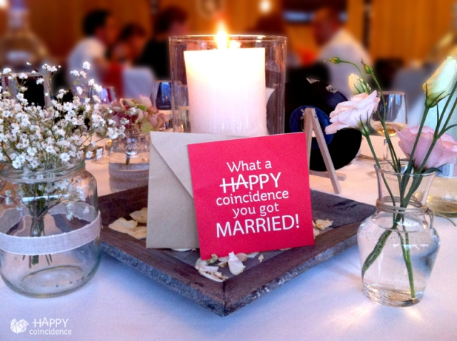 Happy Coincidence wedding greeting card