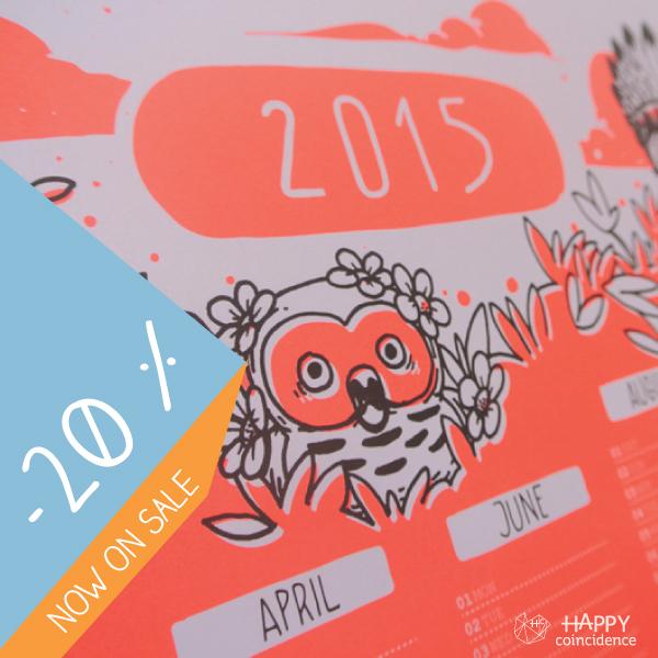 Happy Coincidence Owls Calendar-on-sale
